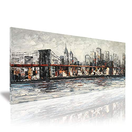 Zoyart Abstract Canvas Painting, 24x48inch New York Cityscape Brooklyn Bridge Oil Paintings Hand Painted on Canvas Large Wall Art Artwork for Home/Office Walls Decor Ready to Hang