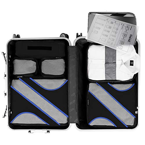 BAGAIL 6 Set Packing Cubes Multi-Functional Luggage Packing Organizers with Shirt Bag for Travel Accessories Black