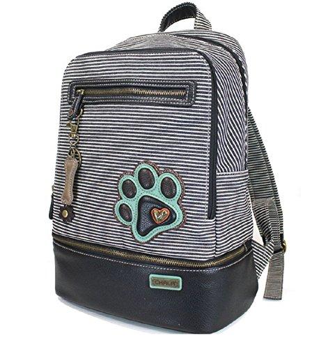 Chala Backpack Style Purse Striped with detachable Key Chain Fob Charm (Black Stripe)