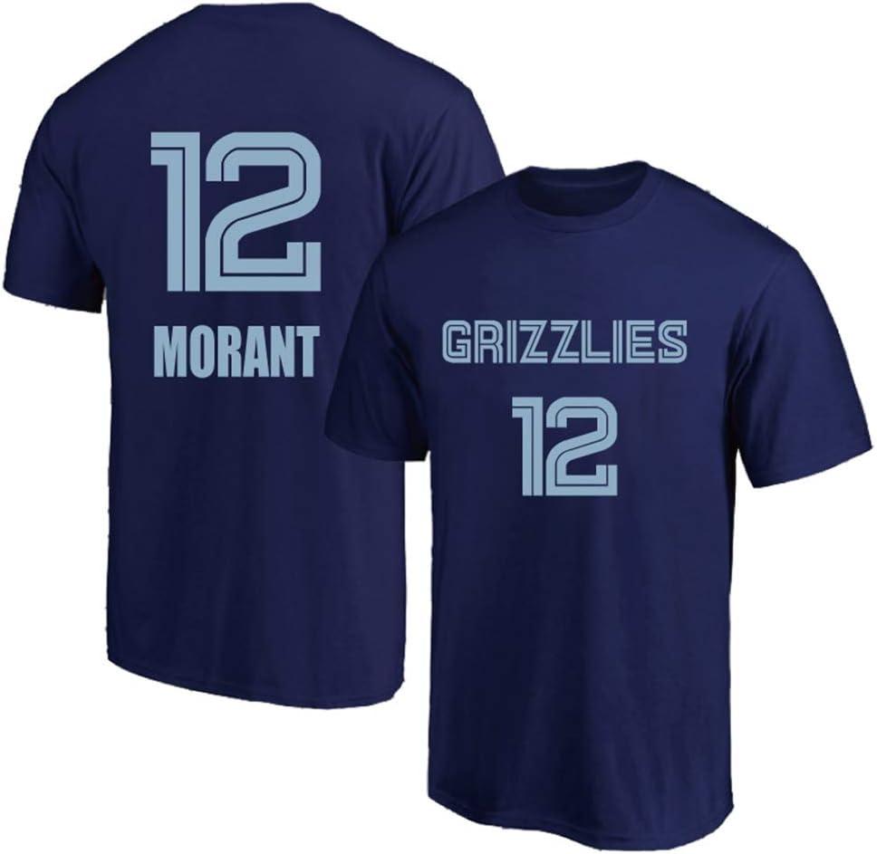Basketballhemd Klassisches Stickerei-T-Shirt CAISHEN Herren Retro Basketball Uniform Memphis Grizzlies 12# MorantSommersport Trikot