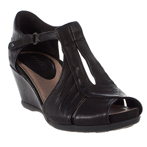 Earth Womens Primrose Black Tumbled Leather Sandal - 8.5 by Earth
