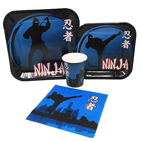 (Blue Orchards Ninja Standard Party Packs (65+ Pieces for 16 Guests!), Ninja Birthday Supplies,)