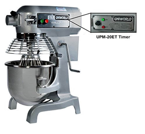 Uniworld 20 Qt. Electric Planetary Mixer with Timer 1.0 H.P., 10-15 lb Flour Capacity, Gear Driven with 3 Speeds, Includes Stainless Steel Bowl, Flat Beater, Wire Whip, and Dough Hook ETL Approved Model UPM-20ET