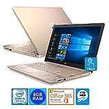 HP 15.6' HD Touch Screen Laptop Intel i5-8250U 8GB 1TB HDD Office 365 Personal 1Yr. (Pale Rose Gold) (Renewed)
