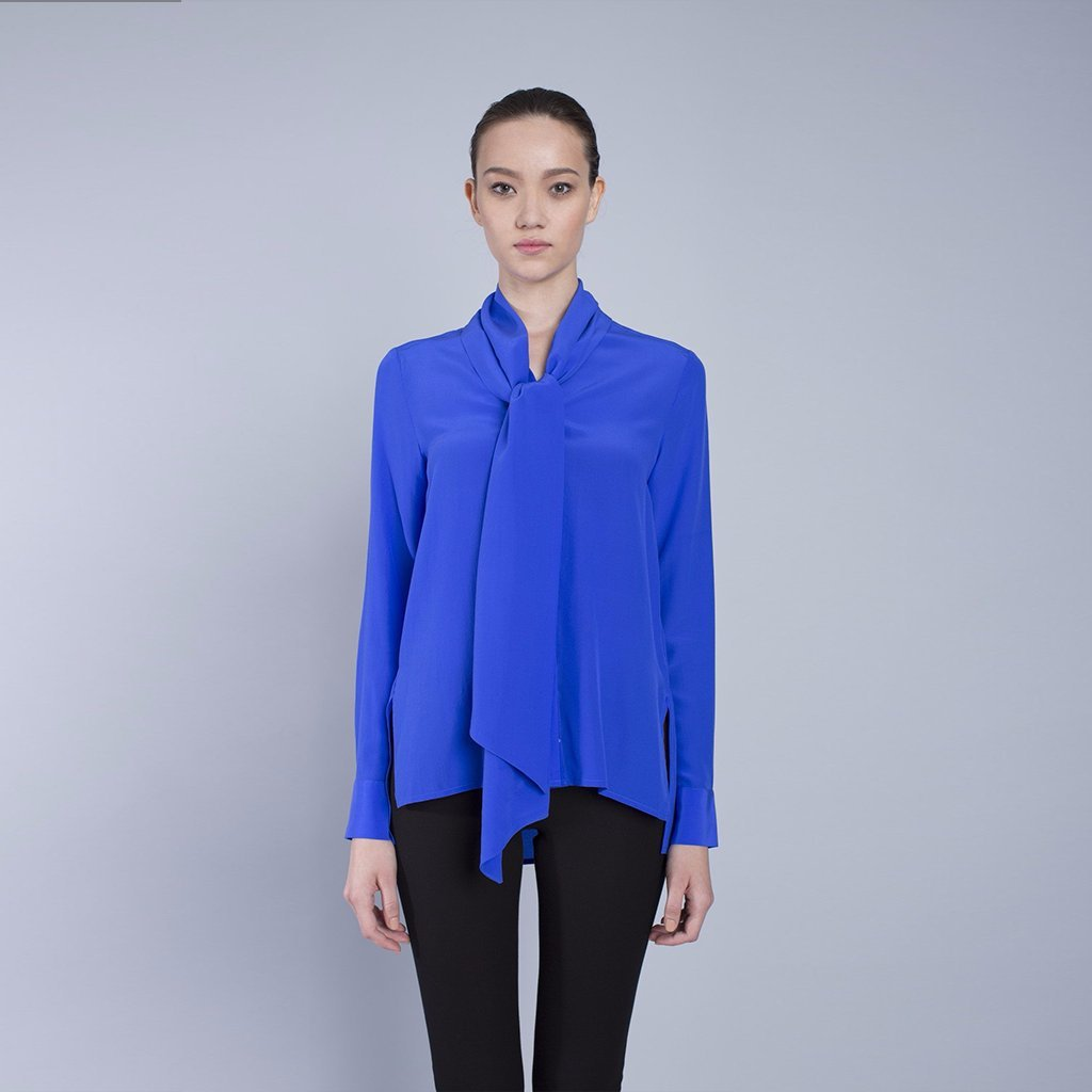 c058b741b0dcd3 VAUGHAN Women's Pussy Bow Blouse Long Sleeve Tops - Blue Slim Fit Cassie  Shirt at Amazon Women's Clothing store: