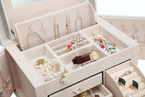 Vlando Faux Leather Jewelry Box Organizer, 6 Colors Available, Vintage Gift Case (White) by Vlando (Image #3)