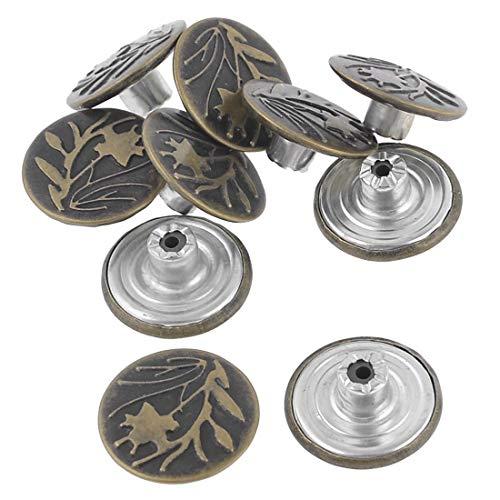 Filigree Wrap - Bronze Tone Leaf Pattern Metallic Tack Buttons Rivet 10 Pcs - Metal Buttons Tool Stamp Plastic Jean Wall Bronze Earrings Brass Decor Triangle Tone Flower Rivet Rivets Leaf Bu