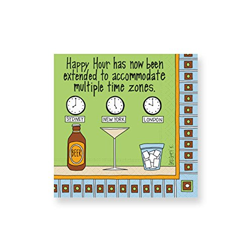 (Design Design Multiple Time Zones Cocktail Napkins, Green )