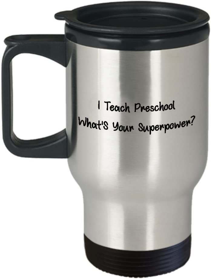Amazon Com Best Funny Daycare Teacher Travel Mug Childcare Worker Provider Tea Cup Perfect Appreciation Thank You Ideal For Men Women I Teach Preschool Whats Your Superpower Kitchen Dining