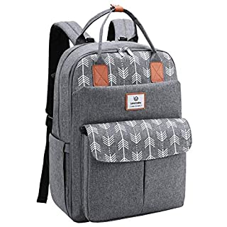 Lekebaby Large Diaper Bag Backpack with Changing Pad and Stroller Straps with Arrow Print, Gray