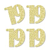 Gold Glitter 19 - No-Mess Real Gold Glitter Cut-Out Numbers - 19th Birthday Party Confetti - Set of 24