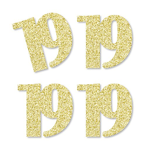 Gold Glitter 19 - No-Mess Real Gold Glitter Cut-Out Numbers - 19th Birthday Party Confetti - Set of -