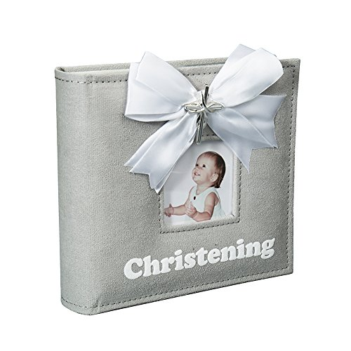 Modali Baby Christening Baby & Children Elegant Photo Album with Ribbon and Beautiful Silver Cross 80 Pictures 4x6'' by Modali Baby (Image #1)