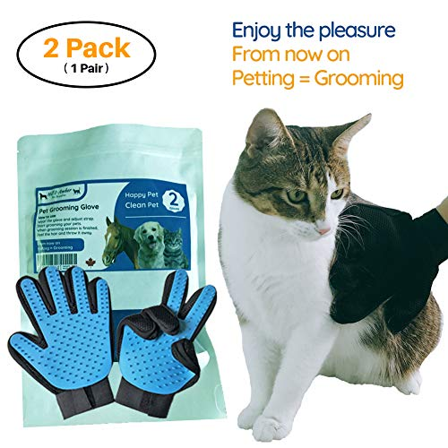 [2018 New] Pet Grooming Gloves - Hair Remover Brush Massage Tool for Cats, Dogs and Horses - Long & Short Fur - Gentle Effective Comfortable - 1 Pair - Your Pets Will Love It