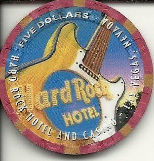 $5 hard rock desert scene las vegas casino chip