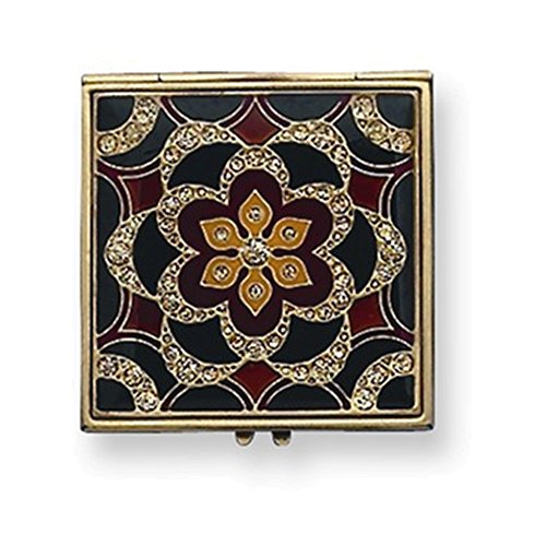 Gold-tone Enameled Compact Mirror (Enameled Italian)