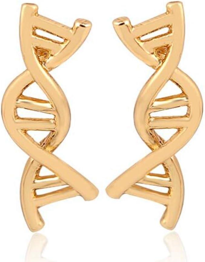 GDSGDSEH Pendientes Doble Hélice Stud Pendientes Mujeres Pendiente De ADN Lindo Biología Ciencia Temática Regalo De La Joyería
