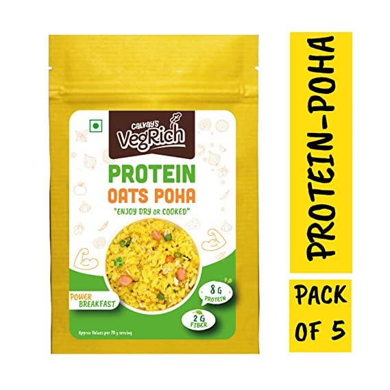 Calvay's VegRich Protein Oats Poha, 350 g (Combo of 5)