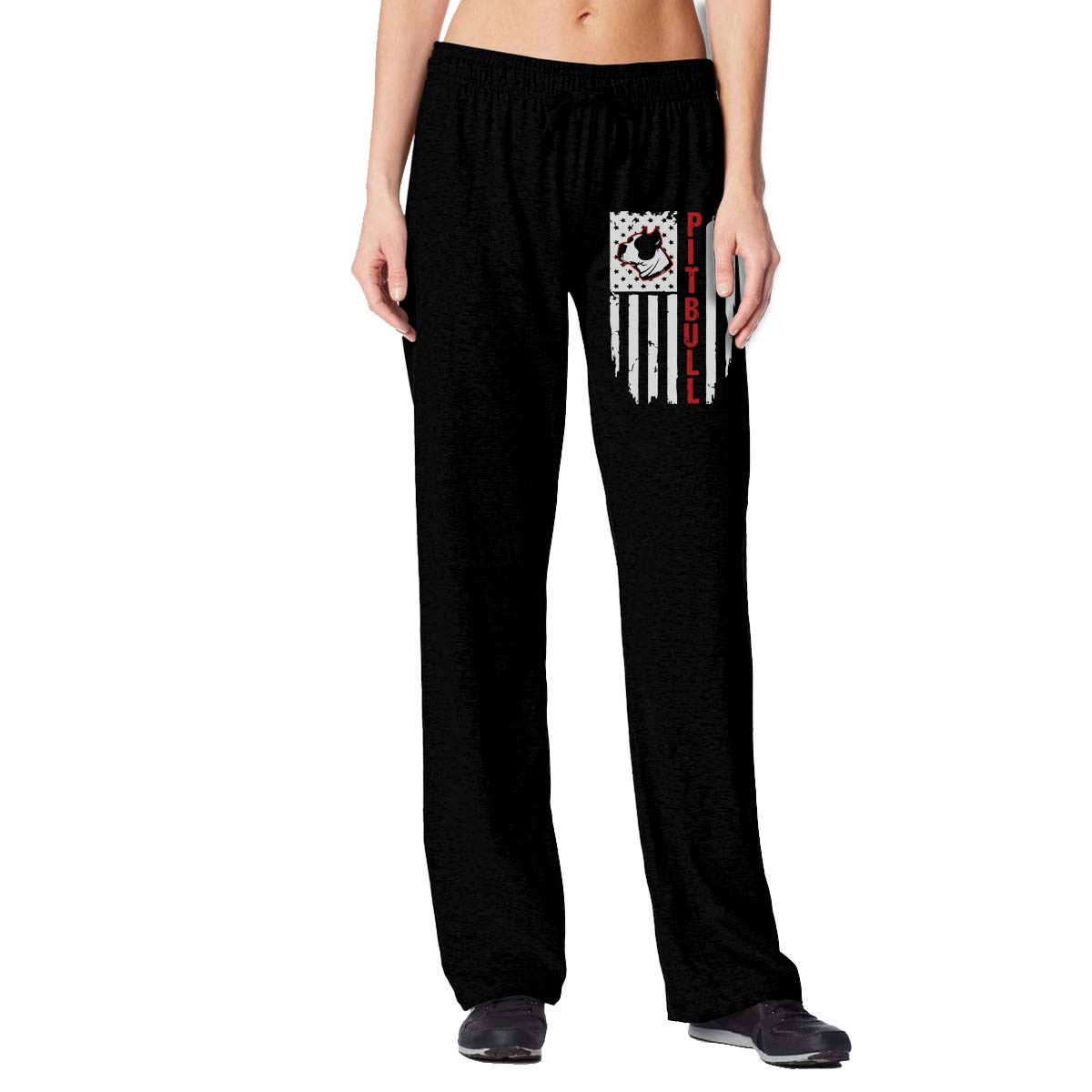 ANWK2-1 Pitbull Flag Patriotic American Flag Womens Sweatpants with Pockets Fitness Pants