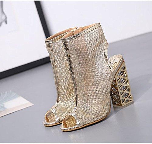 Été De Transparent Gros Bouche Femmes Court le Bottes Les À Poisson Khskx Thirty Golden Souliers Chaussures 8 five Sont Cristal Cool Hauts 5cm Talons xwHWTUv4