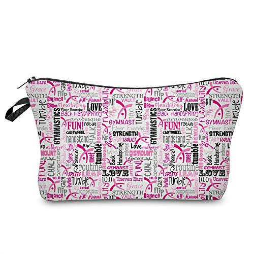 Cosmetic Bag MRSP Makeup bags for women,Small makeup pouch Travel bags for toiletries waterproof Gymnastics Fabric Pink (51709) ...