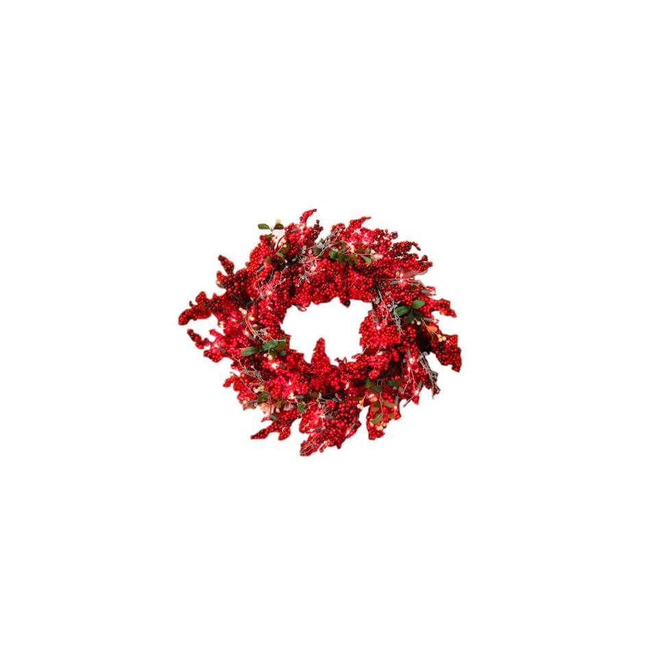 GKI Bethlehem Lighting Red Berry 30 Inch Christmas Christmas Wreath with 100 Red Mini