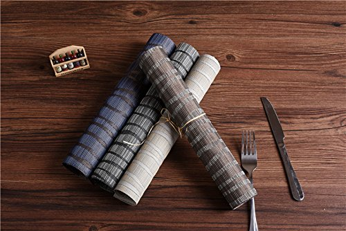 Topotdor Placemats set of 6 PVC Non-slip Insulation Stain-resistant vertical stripes Placemats for Home, Kitchen,Office and Outdoor (Set of 6, Black) by Topotdor (Image #9)
