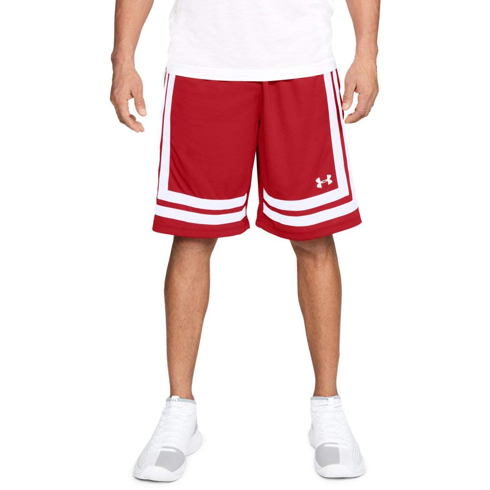Under Armour Men's Baseline 10'' Shorts, Red (600)/White, X-Large by Under Armour