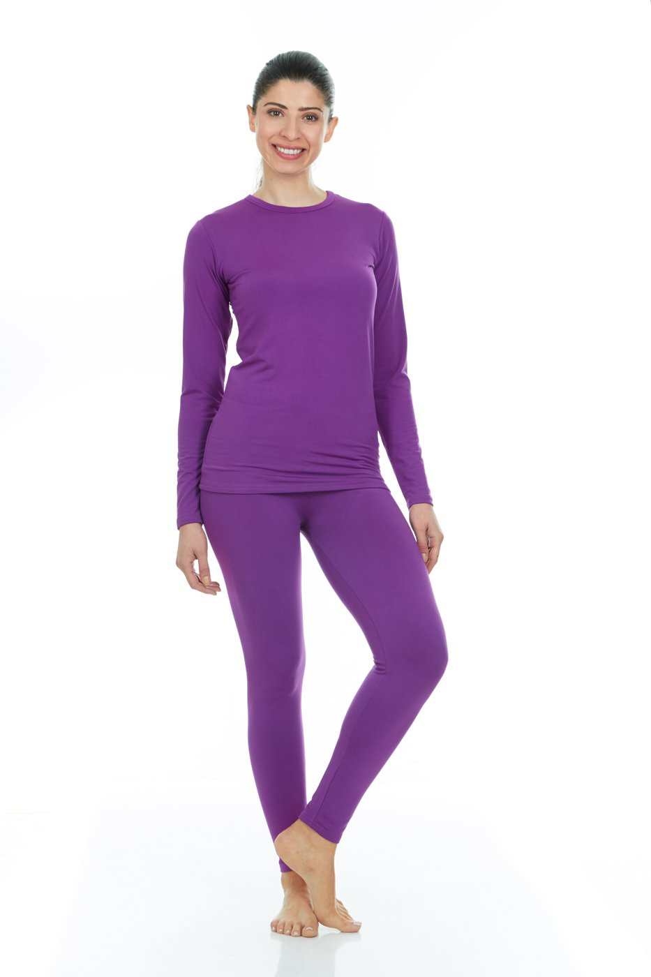 Thermajane Women's Ultra Soft Thermal Underwear Long Johns Set with Fleece Lined (XX-Small, Purple)