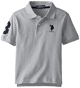 U.S. Polo Assn. Big Boys' Short Sleeve Solid Pique Polo, Light Heather Grey, 18