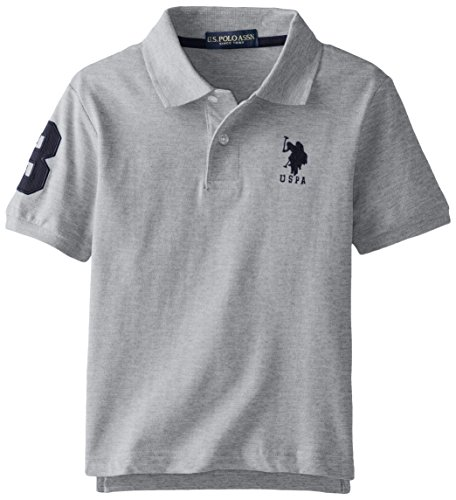 U.S. Polo Assn. Big Boys' Short Sleeve Solid Pique Polo, Light Heather Grey, 10/12