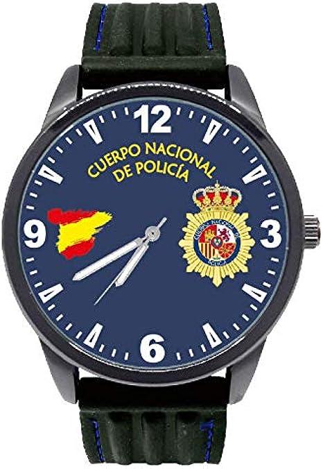 Reloj Policía Nacional G&B Esfera Azul Oscuro Correa Caucho: Amazon.es: Relojes