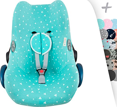(JANABEBÉ Maxi COSI Cover Liner for CABRIOFIX, CITI, STREETY FIX, Jane KOOS + Harness Protection Pads (Mint Sparkles))