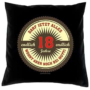 Cojín con relleno como regalo para 18º cumpleaños atractivo,–Cojín decorativo (puede ahora todo Endlich 18en negro