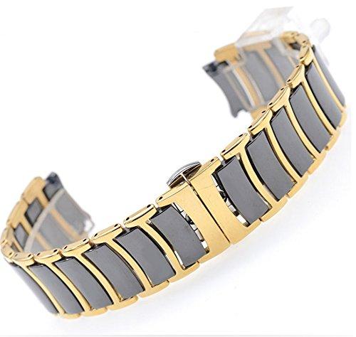 Bracelet-Butterfly-Buckle-Strap-for-Rado-Centrix-Series-R30035712-Watch-Band-22mm-Man-Steel-Black-Gold