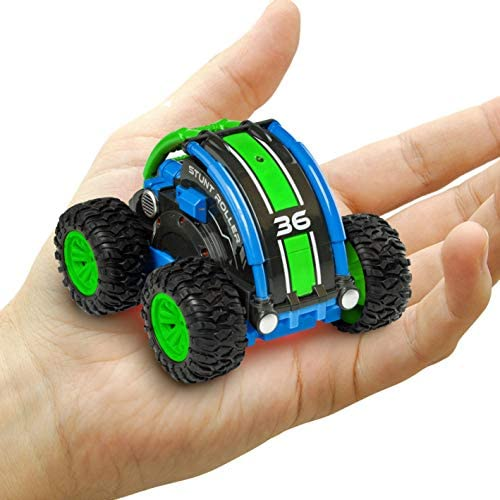 Power Your Fun Stunt Roller Mini Remote Control Car for Kids - Fast Mini Stunt RC Car, RC Toy Car 360 Flips, Tricks, and Spins with All-Terrain Tires and a pair of.4GHz Remote Control (Green/Blue)