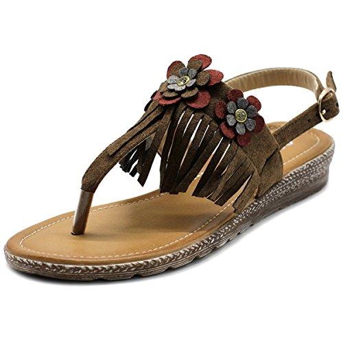 - Ollio Women's Shoe Fringe Floral T-Strap Zori Flat Sandal BN07(9 B(M) US, Brown)