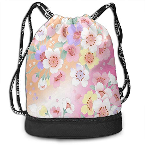 Sport Unisex Bundle Drawstring Backpack Beauty Cherry Blossoms Travel Durable Large Space Gym Sack Personalized Waterproof Multifunction Daypack ()