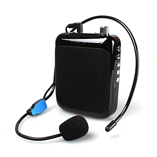 Portable Voice Amplifier, Maono AU-C01 Professional Teacher Microphone with FM, Repeat and Music Player Function for Coaches, Tour Guides, Kindergartener, Market Promotion (Black)