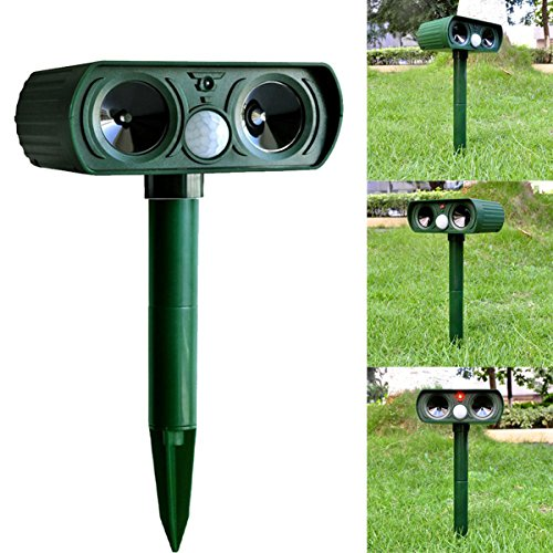 Solar Animal scarers Ultrasonic Signal Strong Flash Garden Lawn Park Protector Solar Ultrasonic electronic animal scarers Bird flooding Cats Dogs rat snake wild boar rabbit control device by A Trading (Image #1)