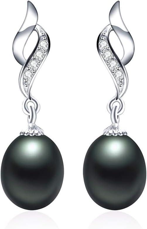 EHEDHXG Perlas de Agua Dulce Naturales Pendientes de Gota para Las Mujeres Moda Plata Circón Joyería de la Boda Pendientes de Perlas clásicos