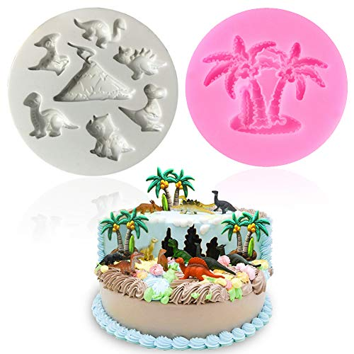 (Vodolo Dinosaur Silicone Mold - T Rex, Triceratops, Plesiosaur, Pterosaur, Stegosaurus and Coconut Tree Mold 2 Pack for Fondant Themed Birthday Cupcake Toppers Party Decorations)