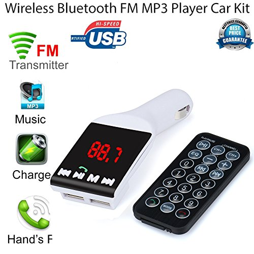 DZT1968 Hot Dual USB Car Kit Charger Wireless Bluetooth Stereo USB devices MP3 Player FM Transmitter