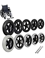 Caster,Front Wheelchair Wheel,Caster with 5/16 inch Bearing,Rollators, Walkers,for Wheelbarrows, Trolleys, Carts etc,Black,8 inch X 1 inch,