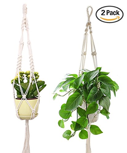 2 Round Pots (Plant Hanger, 39 Inch Handmade Cotton Plant Hangers for Round & Square Pots, 2 Pack (Pot Not Included))