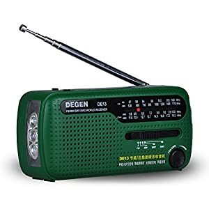 51bA4kzzKHL. SS300  - AZDeal Portable Emergency Solar Crank AM/FM/Radio with LED Flashlight Cell Phone Charger Green (DE-13)