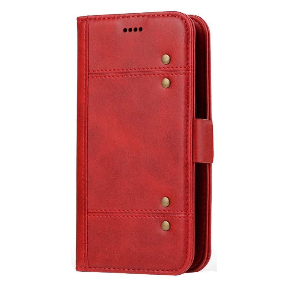 Jennyfly Galaxy S9 Phone Cover, PU Leather Hand Strap Wallet Cover Separeate Retro Book Style Stand Phone Case with Card Slots & Money Pocket Protection Case for 5.8 inch 2018 Galaxy S9 - Red
