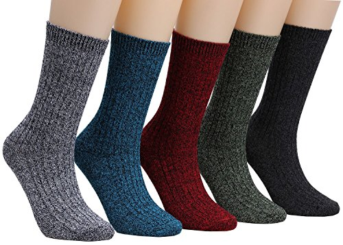 Galsang 5 Pack Ladies Womens Warm Cotton Cable Knit Crew Boot Socks,Size 5-10 A202 (solid - Season Mid Sock Calf All