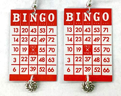 - Bingo Earrings, Bingo Playing Cards, 6 Color Choices, Bingo Player Accessory, Vintage Bingo, Sterling Silver, Handmade, Ships Fast