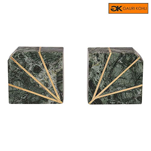 GAURI KOHLI Rustic Marble Bookends with Brass Inlay (Set of 2 | Color Green)